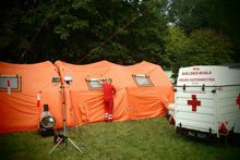 Мобильный госпиталь, палатки